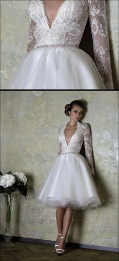 Short wedding dress with lace top, deep V-neckline and ballerina tulle skirt highlighted with crystals around the waist FRENCH LOVE by BIEN SAVVY