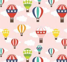 pink hot air balloon Riley Blake retro fabric Lazy Day