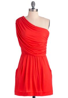 I'm Your Venus Dress in Coral - Short, Casual, Orange, Solid, Pockets, Sheath / Shift, One Shoulder, Summer