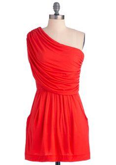 I'm Your Venus Dress in Coral - Short, Casual, Orange, Solid, Pockets, Sheath / Shift, One Shoulder, Summer