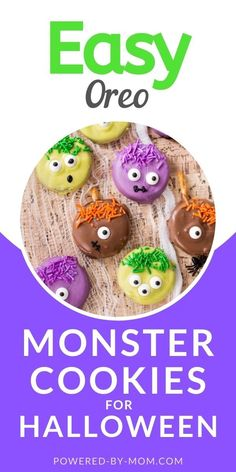 These Oreo Monster Cookies are fun and easy to make either by yourself or even better with the kiddos. They'll enjoy making them and eating whether it's for a birthday or Halloween kids will love these fun cookies. #oreos #Halloween #treats #Halloweentreat #monstercookies #cookies #HalloweenCookies Monster Cookie Recipe Easy, Easy Cookie Recipes, Halloween Cookies, Halloween Kids, Halloween Treats, Fun Cookies, Oreo, Cooking Recipes, Food Recipes