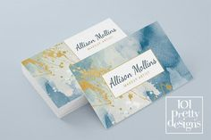 Watercolor business card template gold by 101prettydesigns on Etsy