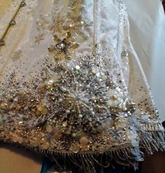 Snow Queen corset detail - Bead Embroidery on commercial corset by Suzanne Forbes