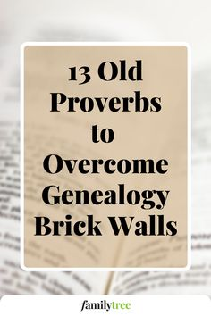Hit a brick wall in your search for immigrant and overseas ancestors? Don't throw in the proverbial towel—look to these 13 ancestral adages for valuable genealogical advice. Genealogy Research, You Lied, Brick Wall, Proverbs, Advice, How To Plan, Tips, Brick Walls, Exposed Brick