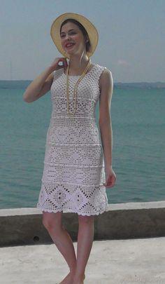 Knit Dress, Dress Skirt, Dog Clothes Patterns, Crochet Clothes, Crochet Bikini, Crochet Patterns, Short Sleeve Dresses, Knitting, Bikinis