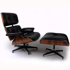 Replica of Eames' iconic lounge chair & ottoman.  Thankfully at a couple thousand dollars less than an original would be.  $990.00