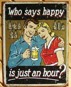 Happy Hour TIN SIGN funny metal wall decor bar beer mug alcohol retro style 1804