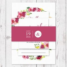 Wedding Belly Band Pink and Floral Invitation Suite Garden Wedding | Peach Perfect Australia
