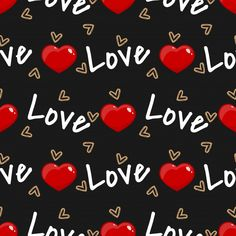 Valentine's Day seamless pattern with heart and Love text. For Valentine's day concept. Cute Patterns Wallpaper, Cute Wallpaper Backgrounds, Cute Cartoon Wallpapers, Heart Wallpaper, Love Wallpaper, Watercolor Paper Texture, Love You Images, Bottle Cap Images, Digital Scrapbook Paper