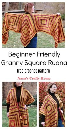 The Sedona Ruana is a free crochet pattern for a beginner friendly ruana made from simple granny squares!  #nanascraftyhome Granny Square Crochet Pattern, Easy Crochet Patterns, Crochet Designs, Crochet Cord, Crochet Shawl, Free Crochet, Ruana Wrap, How To Make Shorts, Crochet Fashion