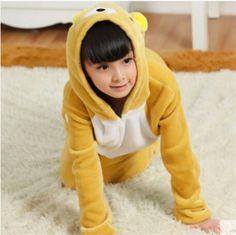 子供3〜8歳のコスプレワンシーのホームウェア用の黄色のクマのフランネルのパジャマ