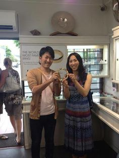 Congratulations Ishii & Yuichiro! They got married today in Golden Bay, after visiting us in the studio to get a diamond and gold pendant for Ishii, and Lord of the Rings rings as gifts for their guests. Wishing you all the best.
