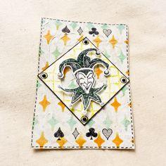 #atc #artisttradingcard #mixedmedia #bicycle #mixedmediaart #watercolors #funnyface #playcard #joker #mask #happyface #clown