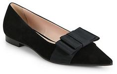 Miu Miu Suede Bow Point-Toe Ballet Flats on shopstyle.com