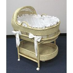 LA Baby Wicker Bassinet and Bedding
