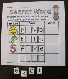 Secret Word literacy center... Students color each picture, build it, write it, and then use the letters leftover to find the secret word - this is for long i.. phonics sounds for the entire year included!