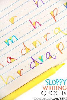 Sloppy Handwriting Quick Fix - The OT Toolbox Sloppy Handwriting, Handwriting Sheets, Teaching Handwriting, Handwriting Activities, Improve Your Handwriting, Handwriting Analysis, Cursive Handwriting, Handwriting Worksheets, Handwriting Practice