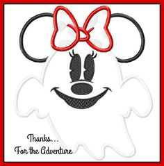 Halloween Minnie Mouse Ghost Digital Embroidery Machine Applique Design File 4x4…