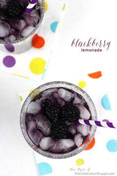Blackberry Lemonade Recipe | Kim Byers, TheCelebrationShoppe.com #drinks #lemonade #blackberry #purple