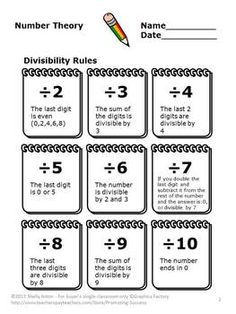 Divisibility Rules: These printable PDF worksheets will help your students learn the divisibility rules for numbers 1-12. You will also receive four activities to practice the rules. Answer keys are also provided. Please see the preview above.