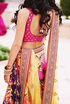 Sabayasachi hot pink floral lehenga! So pretty!