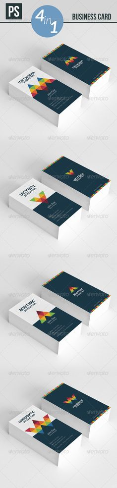 Business Card 4 in 1 2 sided 8 PSD files (Layered) Ready to use, easy to modify. 3.52 300 dpi and CMYK color  Fonts