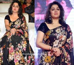 Charmme made an appearance at the pre-release event of Meeku Maathrame Chepta wearing a black floral print organza saree teamed with black sequin blouse by Sabyasachi. She rounded out the look with silver jhumkas, gold watch and wavy hair! Designer Sarees Wedding, Latest Designer Sarees, Designer Anarkali, Indian Designer Outfits, Trendy Sarees, Stylish Sarees, Fancy Sarees, Sabyasachi Sarees, Silk Sarees