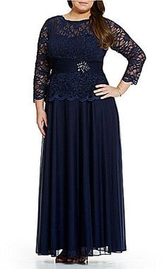 Cachet Plus Faux Two Piece Lace Top Gown