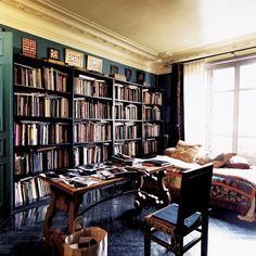private library. Love that the bookshelf takes up the entire wall