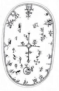 Shaman´s drum symbols in Scandinavia Lappland, Asatru, Thinking Day, Norse Mythology, Tribal Art, Art Plastique, Ancient Art, Rock Art, Tattoo Inspiration