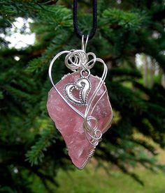 YOUNG AT HEART - Wire Wrapped Rose Quartz Pendant Embellished with a Heart Charm