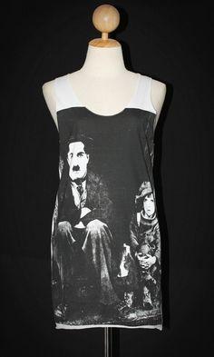 Charlie Chaplin The Kid White Tank Top Sleeveless Indie Punk Rock T-Shirt Size M-L