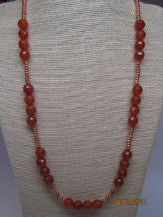 """new Zealand"" carnelian necklace, pattern by Cathy Jakicic"