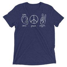 Vegan Clothing - Vegan Shirt - Love Peace Vegan Symbols