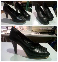 Zapatos taco negros terminado