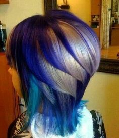 Blue/purple/blonde hair. Whoa! I wouldn't do this but it's trippy looking!