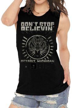 c0201c98e Journey Women's Vintage Concert Fashion T-shirt - Don't Stop Believing  Detroit 1986 | Black Sleeveless Shirt