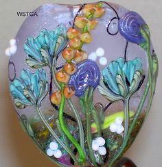 WSTGA~MAY FLOWERS~GARDEN FLORAL SPRING handmade lampwork focal glass bead SRA