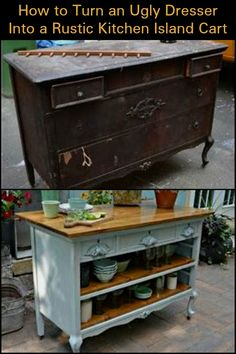 - Furniture for Kitchen - Create Extra Storage and Counter Space by Turning an Ugly Dresser into a Rustic . Create Extra Storage and Counter Space by Turning an Ugly Dresser into a Rustic Kitchen Island Cart by lucinda. Refurbished Furniture, Repurposed Furniture, Rustic Furniture, Furniture Makeover, Painted Furniture, Antique Furniture, Diy Furniture Repurpose, Upcycled Furniture Before And After, Bedroom Furniture