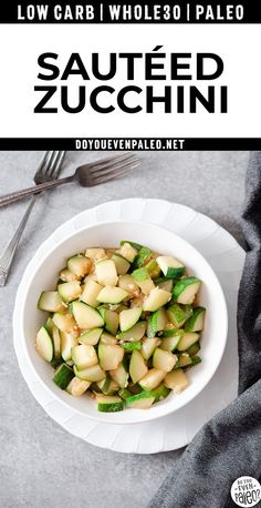 This easy zucchini side dish recipe has become my new favorite - and even zucchini-hating spouse asked for seconds! This sautéed is super quick easy. Whole30, paleo, gluten free, low carb, keto-friendly, 21dsd, allergy-friendly.