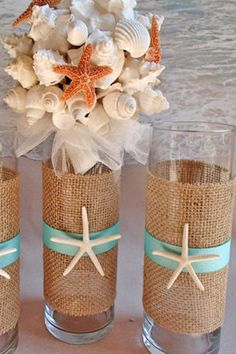 beach burlap wedding decor via paradisebridal etsy / http://www.deerpearlflowers.com/fun-and-easy-beach-wedding-ideas/