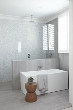 15 stunning bathrooms with no white tiles Restrained and gorgeous, the fish scale marble feature wall paired with soft grey floor and wall tiles are understated and elegant - Marble Bathroom Dreams Dream Bathrooms, Beautiful Bathrooms, Luxury Bathrooms, Master Bathrooms, Modern Bathrooms, Small Bathrooms, Bathroom Goals, Bathroom Ideas, Bathroom Mirrors