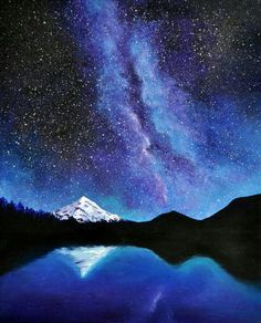 Acrylic painting, starry night with silhouette mountains and snowy peaks and water