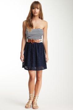 HauteLook   $19 & Under: Rachael & Chloe Stripe Print Trim Tube Dress