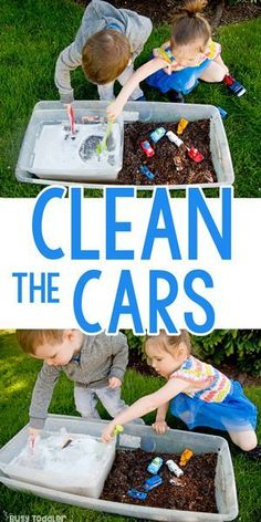 Clean the Cars: Summer Outdoor Sensory Bin Clean the Cars Outdoor Sensory a quick and easy activity for toddlers and preschoolers; sensory bin The post Clean the Cars: Summer Outdoor Sensory Bin appeared first on Toddlers Diy. Outdoor Activities For Toddlers, Toddler Learning Activities, Summer Activities For Kids, Infant Activities, Fun Activities, Kids Learning, Childcare Ideas For Toddlers, Kids Outdoor Crafts, Play Activity