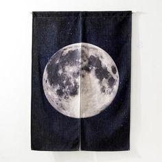 Linen Door Curtains - Full Moon - privacy and organization - unique room dividers - japanese linen door curtains - modern minimalistic decor - living room ideas - curtain panels - DIY closet