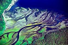 Aerial photo of Tenakee River Delta, Chichagof Island, Alaska,