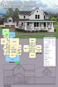 Architectural Designs Charming Farmhouse Plan 500026VV has a first floor master and 3 beds upstairs. Plans are complete with detached garage with the option to finish the carriage house. The home gives you 3 beds and 3,300+ sqft heated living space. Ready when you are. Where do YOU want to build #500026VV #adhouseplans #architecturaldesigns #houseplan #architecture #newhome #newconstruction #newhouse #homedesign #dreamhome #dreamhouse #homeplan #architecture #architect #housegoals #farmhouse