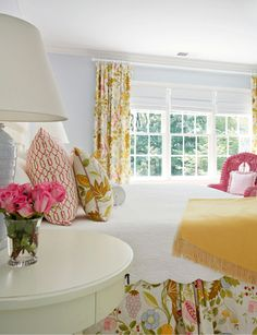 Love the patterned bedskirt with matching pillows & curtains with a solid bedcover. Suellen Gregory Interior Design--Love this for Ivey's big girl room.