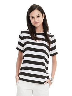 Rugby Stripe Crepe Top | Banana Republic
